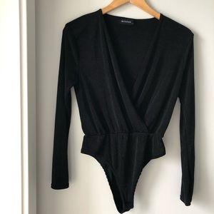 PrettyLittleThing V Neck Cross Over Black Bodysuit